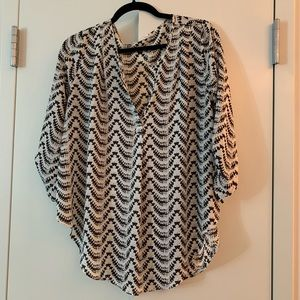 White and Black Aztec Pattern Blouse
